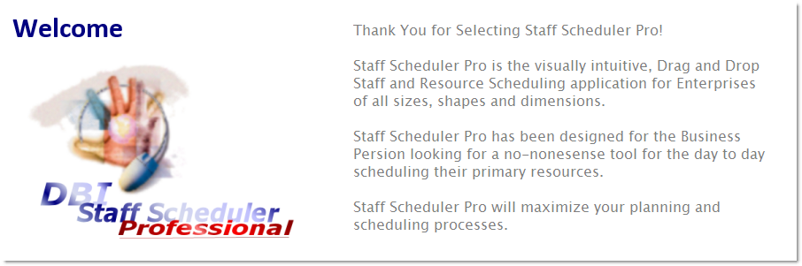 DBI Staff Scheduler Pro - Welcome to the Drag and Drop Scheduling system